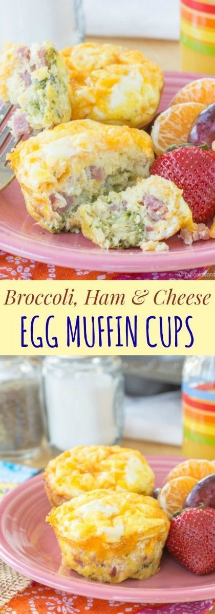 Broccoli Ham and Cheese Egg Muffin Cups - an easy recipe you can make ahead (and even freeze!) for breakfast on-the-go or a simple brinner!