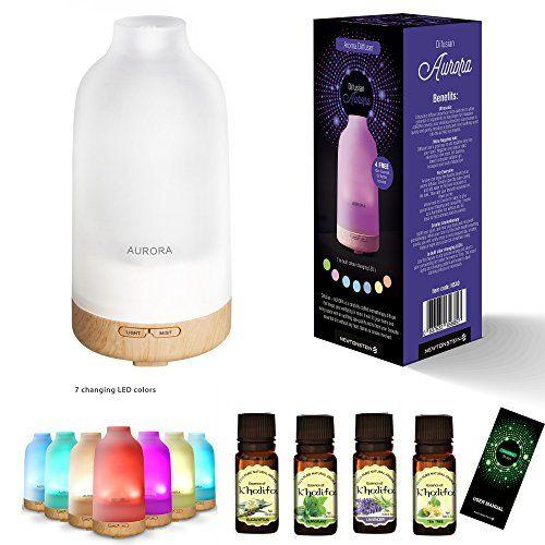 Difusian AURORA - Difusor de aroma, difusor ultrasónico frío de aceites esenciales para aromaterapia, con luces LED, temporizador automático + 4 botellas de 10 ml de aceites esenciales (Árbol de té, Menta, Lavanda y Eucalipto) - Para el hogar, yoga, oficina, spa, dormitorio, habitación de los niños, etc. #Difusian #AURORA #Difusor #aroma, #difusor #ultrasónico #frío #aceites #esenciales #para #aromaterapia, #luces #LED, #temporizador #automático #botellas #(Árbol #té, #Menta, #Lavanda…