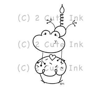 Birthday Froggie 2 Cute Ink Digital Stamp $3.00