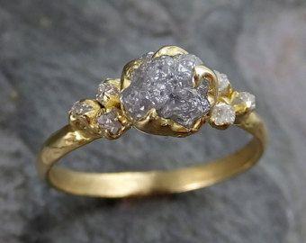Roher ungeschliffener Diamant 18k gold Engagement von byAngeline