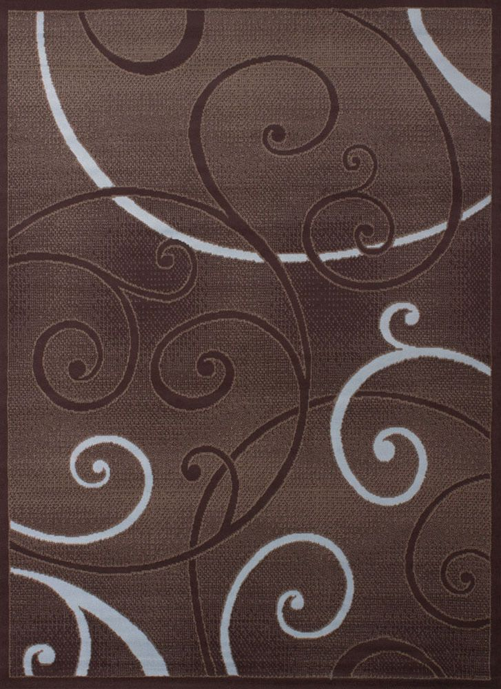Brown Contemporary Circles Area Rug Loops Rings Curls Polypropylene Carpet #RugDealz #Contemporary