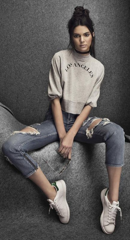 Kendall Jenner wearing Adidas Stan Smith Sneakers, Are You Am I Rosalie  Velvet Choker Black, Kendall + Kylie La Sleeve Mock Neck Sweatshirt and  Kendall ...