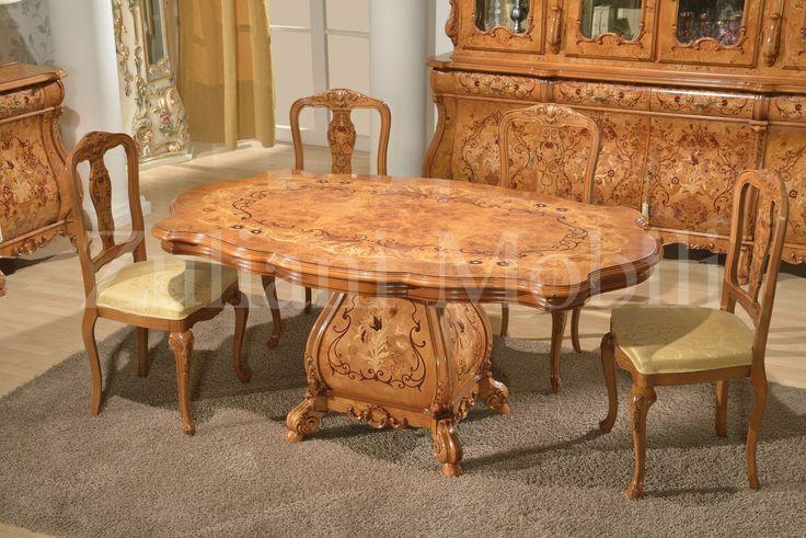 Tavolo in stile olandese in radica di pioppo con intarsi - Mobili in pioppo ...