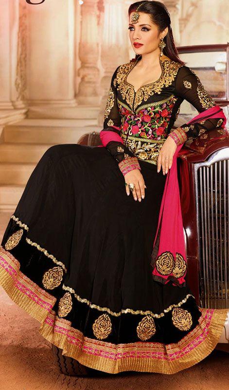 Celina Jaitley Black Embroidered Georgette Long Anarkali Suit.