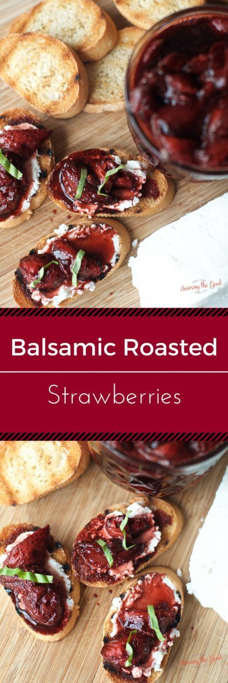 A delicious and non-traditional way to enjoy strawberries is to roast them in balsamic vinegar. A incredible balance of tang and sweet, I serve this treat on a goat cheese crostini. Another fabulous option is to pour them over ice cream. You will be shock