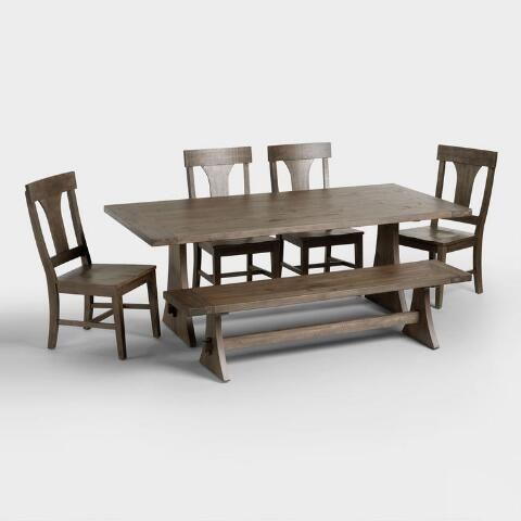 rustic wood brinley fixed dining table world market dining rh pinterest com