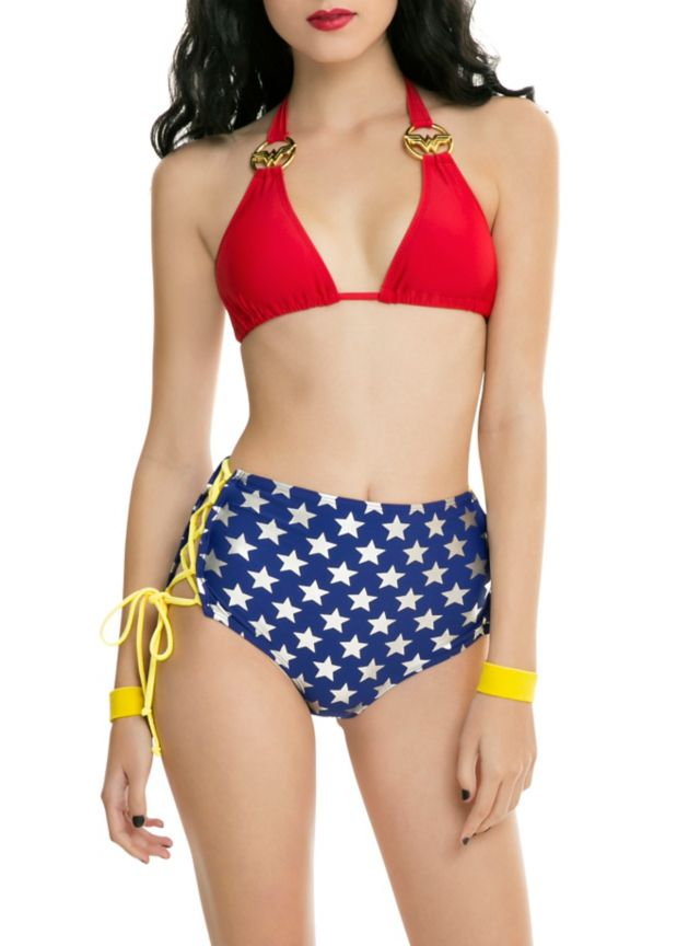7a9afbbd58 Red swim top with Wonder Woman logo rings on the straps. Want the matching  bottoms  Click here.