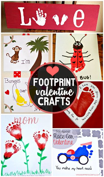 Cute Footprint Valentine's Day Crafts for Kids (Find hearts, race cars, flowers, love bugs, and more!) | CraftyMorning.com