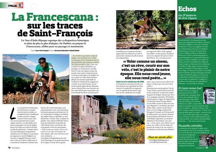 Il magazine francese CycloSport dedica nel mese di luglio 2016, due pagine a La Francescana. Di Jean Paul Vespini  Scarica l'articolo in pdf