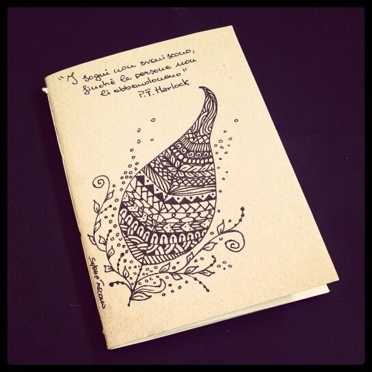 School Notebook Cover Design : Illustrated notebook cover zentangle design diy