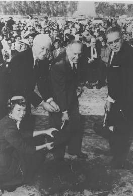 Groundbreaking for Los Angeles State College, San Fernando Valley Campus (now CSUN), January, 1956.  From left to right: Howard McDonald, then President of L.A. State; Gov. Goodwin Knight; Superintendent of Public Instruction Roy E. Simpson; and Patricia Kulpatric, L.A. State Homecoming Queen. CSUN University Digital Archives.: Homecoming, Digital Archives, Csun University, Angeles State, Fernando Valley, College, Goodwin Knight, Digital Collections