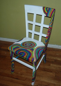 "Spiral Rainbow Chair by Jennifer Brown   - This chair will bring light to any room and to everyone who sits on it. It is a very sturdy up-cycled chair which has been given a new life. Furniture is handpainted with a primer, acrylic paint, and many coats of a poly-acrylic finish. Chair measures: 35"" High, 16"" Deep, and 17"" Wide $165.00 On Artful Vision, a portion of your purchase is donated to a participating non-profit of your choice. #art #home #chair #Rainbow"