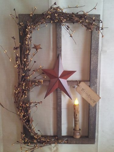 primitive decor~ stained window pane display ~ country ~ timer led candle by ValeriejPeters
