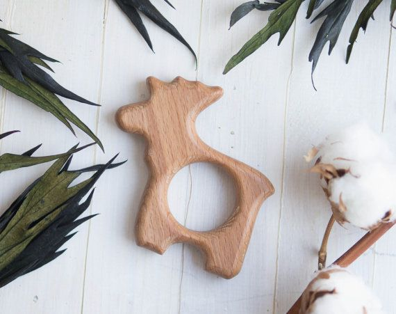 Organic Wooden Teether. Beech Teething Toy.  Hand-carved Teether. Natural Baby Toy. Eco Friendly Infant Toy.