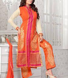 Buy Orange embroidered georgette semi stitched salwar with dupatta party-wear-salwar-kameez online