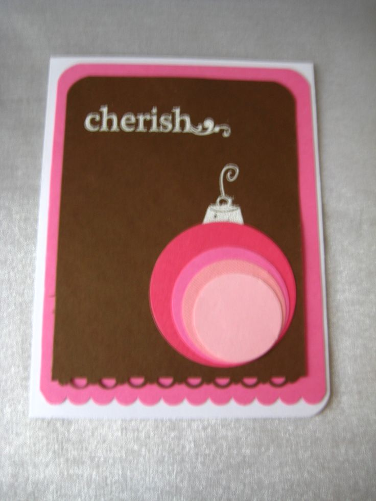 'Cherish' variation on a theme chocolate brown with pink and white ornament