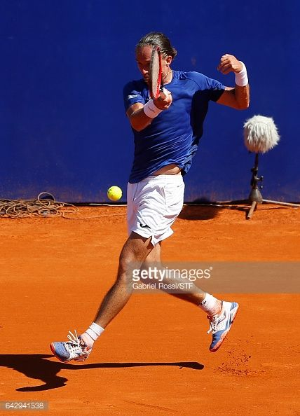 Alexandr Dolgopolov of Ukraine takes a forehand shot during a final match between Kei Nishikori of Japan and Alexandr Dolgopolov of Ukraine as part of ATP Argentina Open at Buenos Aires Lawn Tennis...