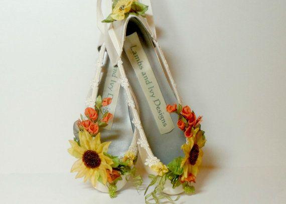Zapatos girasol girasol novia, zapatos otoño, zapatos Woodland Garden, cuento de hadas zapatos, zapatos de hadas