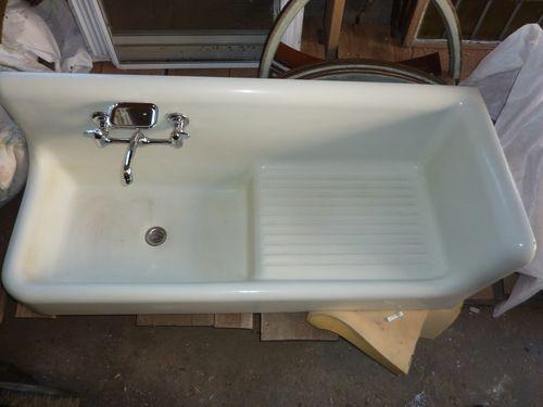 Attractive Antique Vintage Porcelain Over Cast Iron Kitchen Farm Sink With High Back  Corner/side