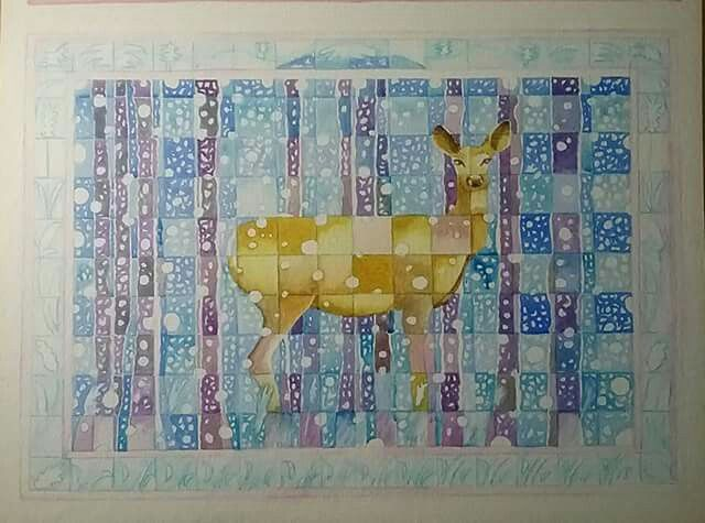 Deer in the snow. Watercolour