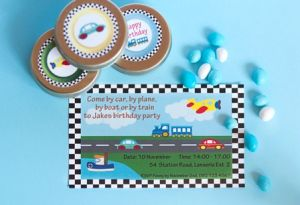 Cars, boats, planes and trains party: Set the theme from the get go for your little one's party with a beautiful invitation.