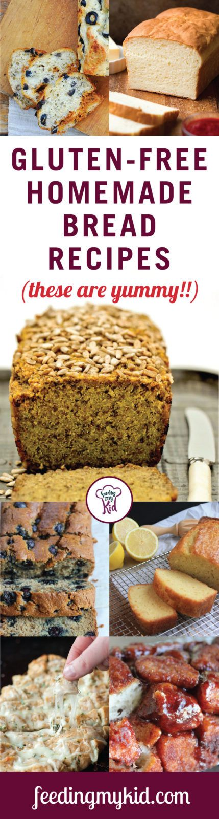 This is a must share! Thinking of going gluten free but can't live without the goodness of bread? Here're some great gluten free bread recipes just for you! Feeding My Kid is a website for parents, filled with all the information you need about how to raise your kids, from healthy tips to nutritious recipes. #bread #recipes #glutenfree