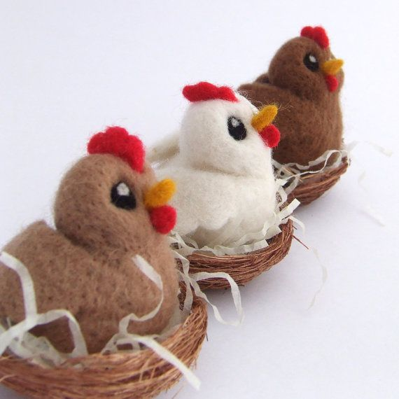 Needle Felted Chicken in Nest Beige Chicken by feltmeupdesigns