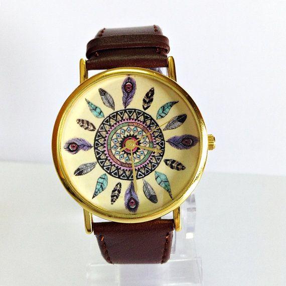Original Freeforme Dream Catcher Watch, Vintage Style Leather Watch, Women Watches, Unisex Watch, Boyfriend Watch, Tan