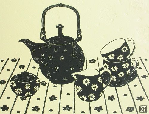 The Blue Teapot by Kate Hudson | PG Printmaker Gallery