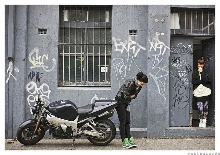 Naomi Tettmann, her 1000cc motorbike and Elke Doust photographed out the front of their Collingwood studio by Paul Barbera for Where They Create