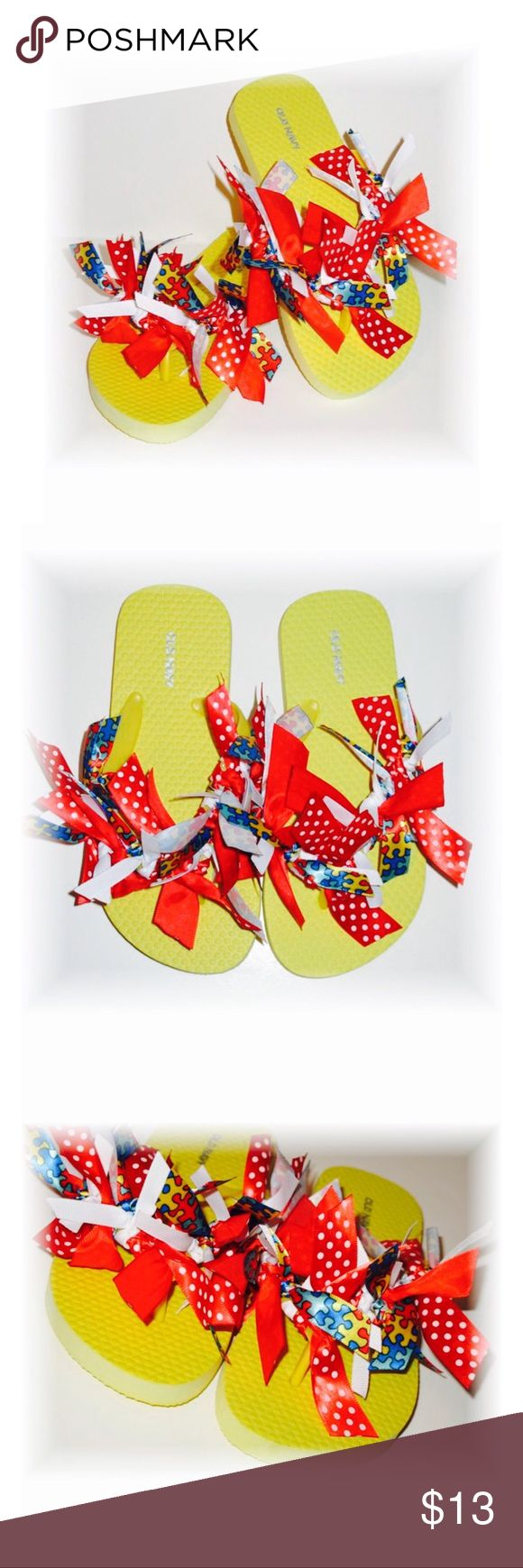 Autism Awareness Ribbon Flip Flops size 1/2 UP FOR SALE TODAY ARE THESE ADORABLE BOUTIQUE FLIP FLOPS!!     ♥Autism awareness  ♥GIRLS SIZE 1/2- made with Old Navy flip flops   ♥YOU WILL RECEIVE ONE PAIR OF FLIP FLOPS WITH A BEAUTIFUL MIX OF HAND CUT AND TIED RIBBONS! ALL ENDS ARE HEAT SEALED TO PREVENT FRAYING.                                                        ♥This is a new hand embellished item made by me from my online and craft faire boutique!    THANKS SO MUCH FOR STOPPING BY TO…