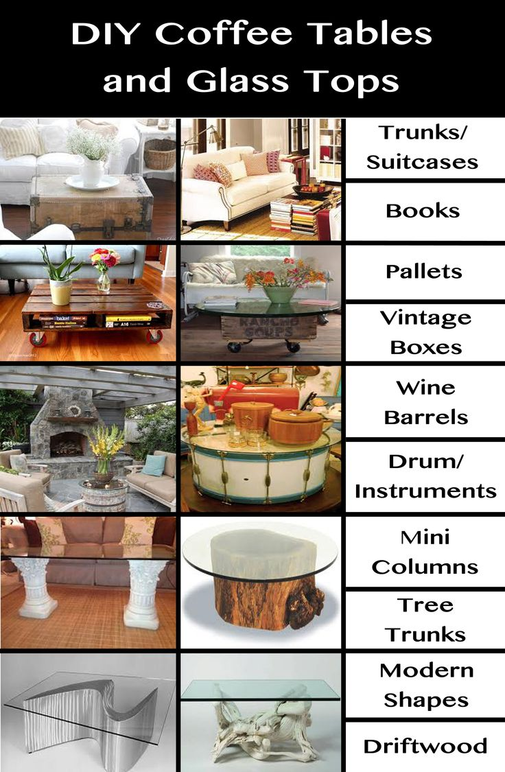 DIY Coffee Table Ideas Put A Glass Top On Almost Anything