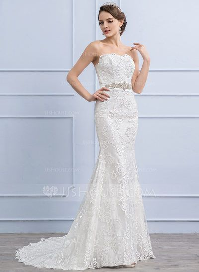 [CA$ 310.27] Trumpet/Mermaid Sweetheart Sweep Train Lace Wedding Dress With Beading Sequins