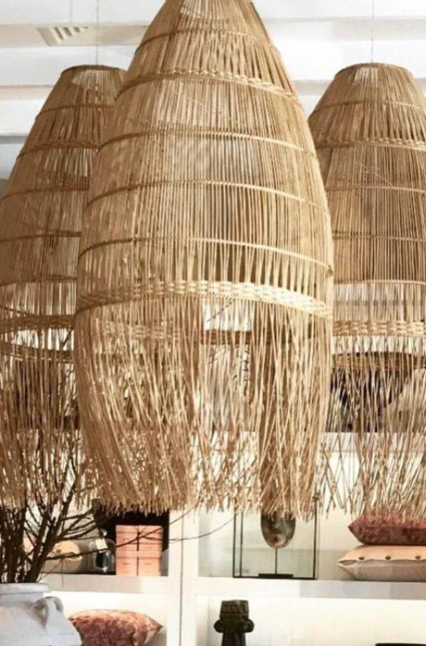 Tribal Natural Fringe Rattan Pendant Extra Large In 2019