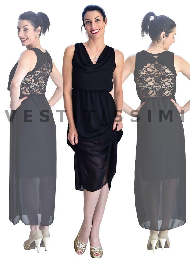 Vestito donna ELEGANTE. Abito donna da sera. Vestito donna senza maniche e scollatura a girocollo. Vestitino perfetto per cocktail, party o cerimonia.