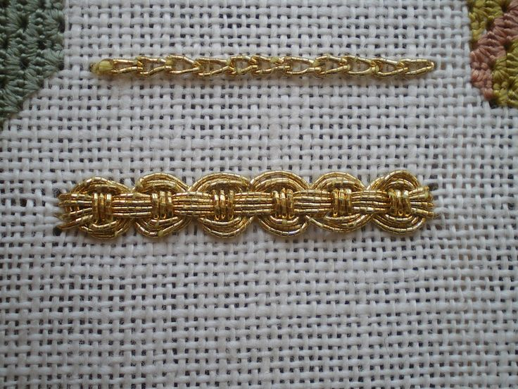 Guilloche stitch (bottom) [this is just cool, and would be a way to stop using storebought braid & still add galloon bling]