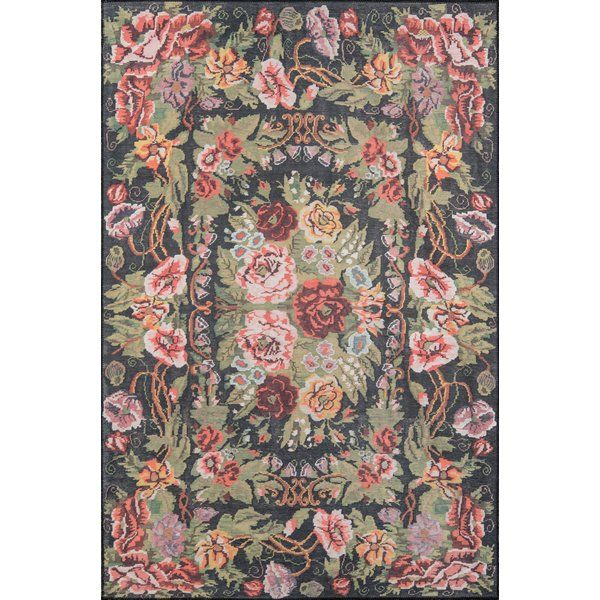 Chiu Floral Black Green Pink Area Rug Black Area Rugs Area Rugs