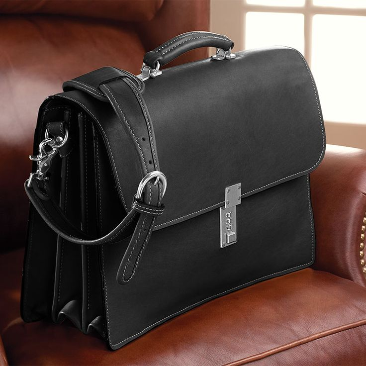 Mens Leather Briefcase Bags Laptop Flapover