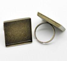 50 Pcs Bronze Tone réglable carré Cabochon Cameo paramètres anneaux Bague 18.3 mm US 8 ( Fit 25 x 25 mm )(China (Mainland))