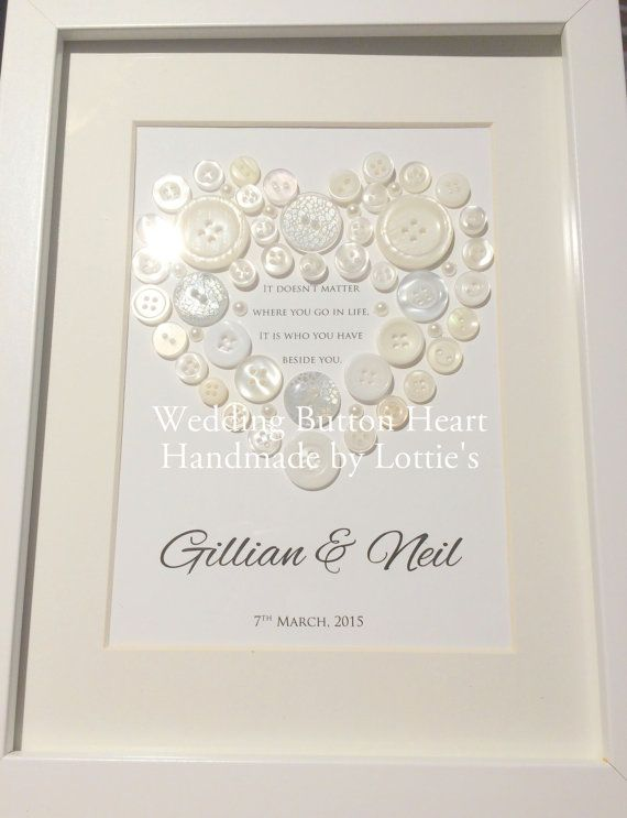 Personalised Handmade Wedding Gift - Beautiful Framed Button Heart Picture
