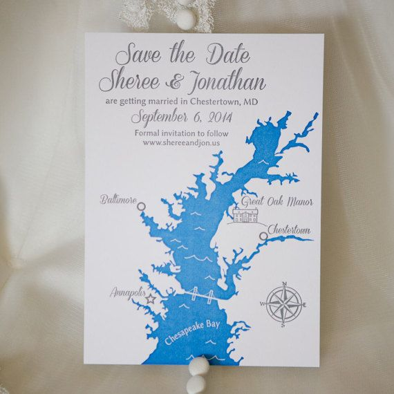 Wedding Invitations In Maryland: Custom Chesapeake Bay, Maryland Save The Date Cards For
