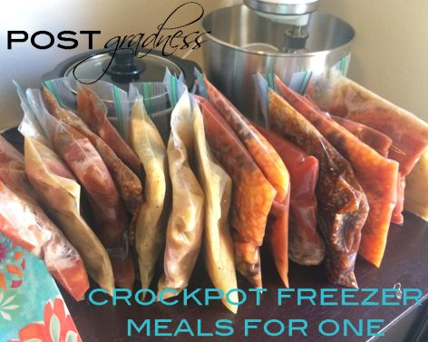 """Crock Pot Freezer Meals for One = Blogger wrote: """"This is so simple and makes it just as easy to cook your own dinner as it is to hit up the drive through.  The thing about Crockpot meals though, is that they are designed to feed a family, ravenous sports team or nomadic rock band. I didn't want to waste food by cooking too much so I set out with a plan. Use my tiny 1.5 quart slow cooker, quart sized freezer bags and a little math eye-ball dividing to prep meals for a few weeks."""""""