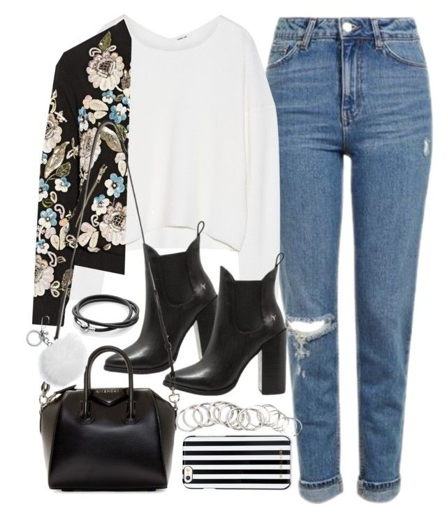 """""""Outfit with blue jeans and a bomber jacket"""" by ferned ❤ liked on Polyvore featuring Topshop, Helmut Lang, Needle & Thread, Windsor Smith, Givenchy, Michael Kors, H&M and MICHAEL Michael Kors"""