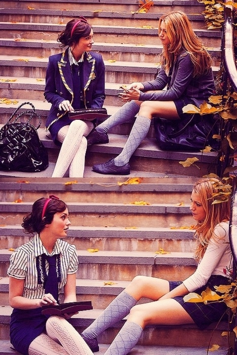 Leighton Meester as Blair Waldorf and Blake Lively as Serena van der Woodsen in…