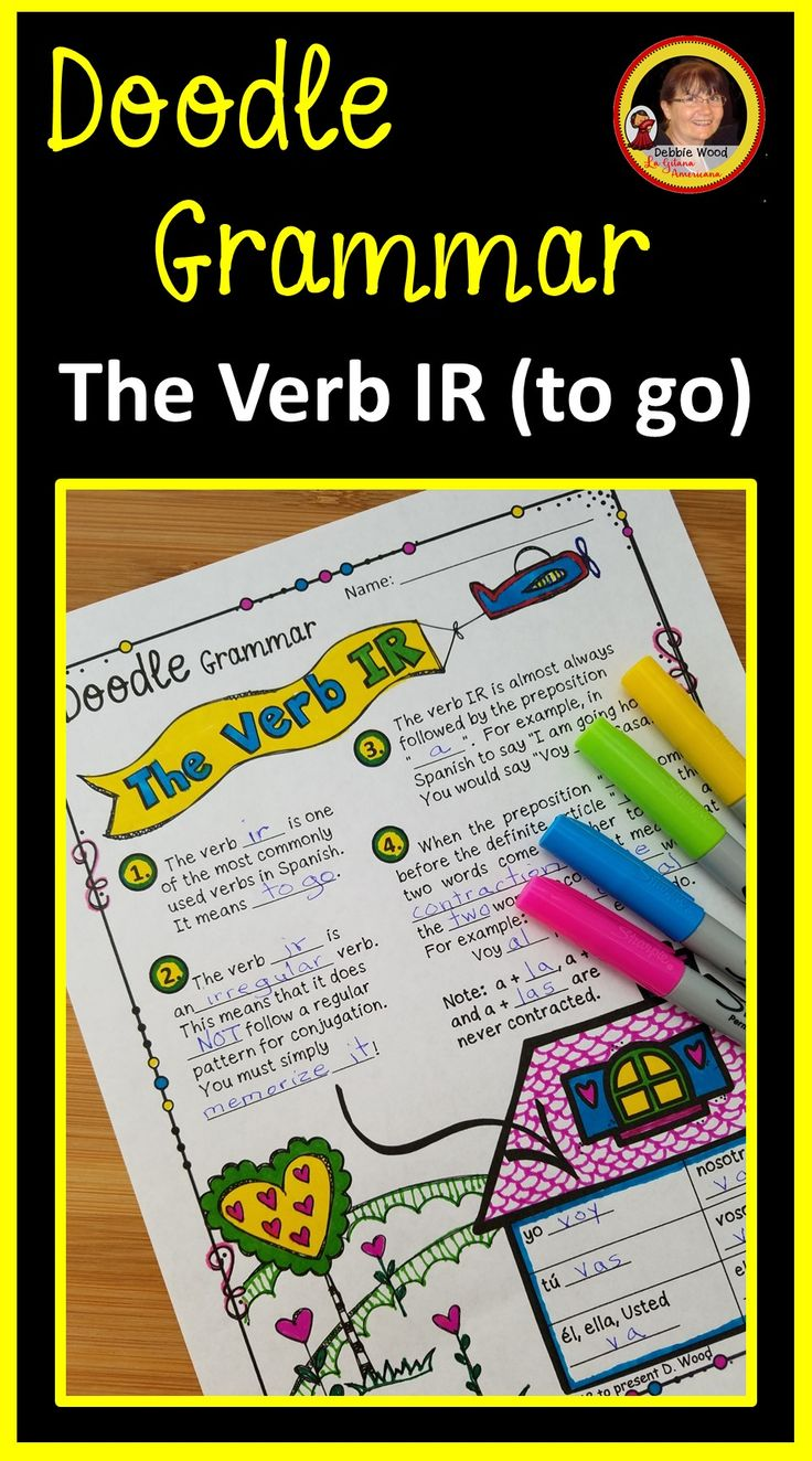 Spanish Grammar of the Verb IR in a fun and creative new way!  These Doodle Notes and Exercises will help students understand and retain Spanish Grammar!
