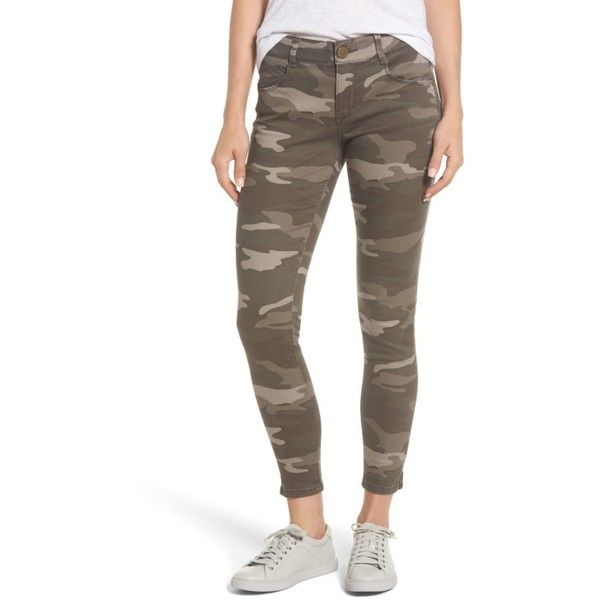 Women's Wit & Wisdom Ab-Solution Camo Stretch Ankle Skinny Jeans ($68) ❤ liked on Polyvore featuring jeans, mr mushroom, petite, camouflage skinny jeans, petite jeans, brown skinny jeans, stretch skinny jeans and brown jeans