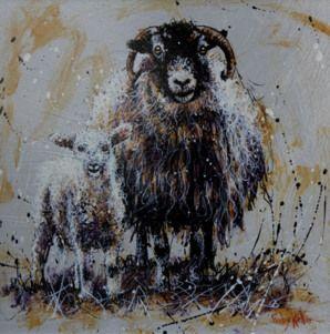 Ewe and Lamb. Original Acrylic Painting on Board by Ruby Keller.
