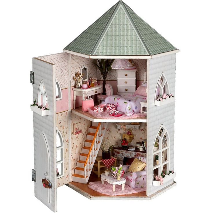 DIY Wooden Castle <b>Dollhouse Miniature With</b> Light And Furniture ...