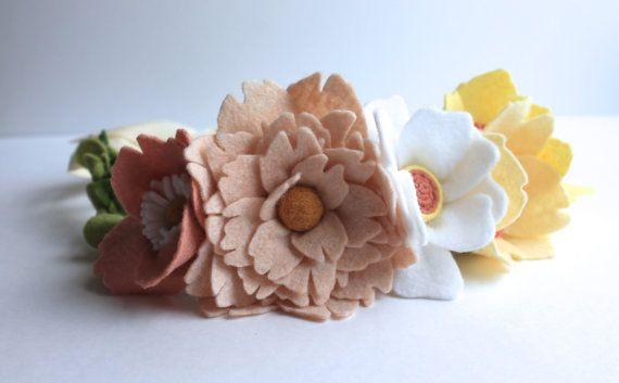 Peony Floral Crown| Felt Flowers. Floral Headband. Hair Flowers. Bridal Crown. Wedding Headband. Adjustable Headband. Wedding Accessories.