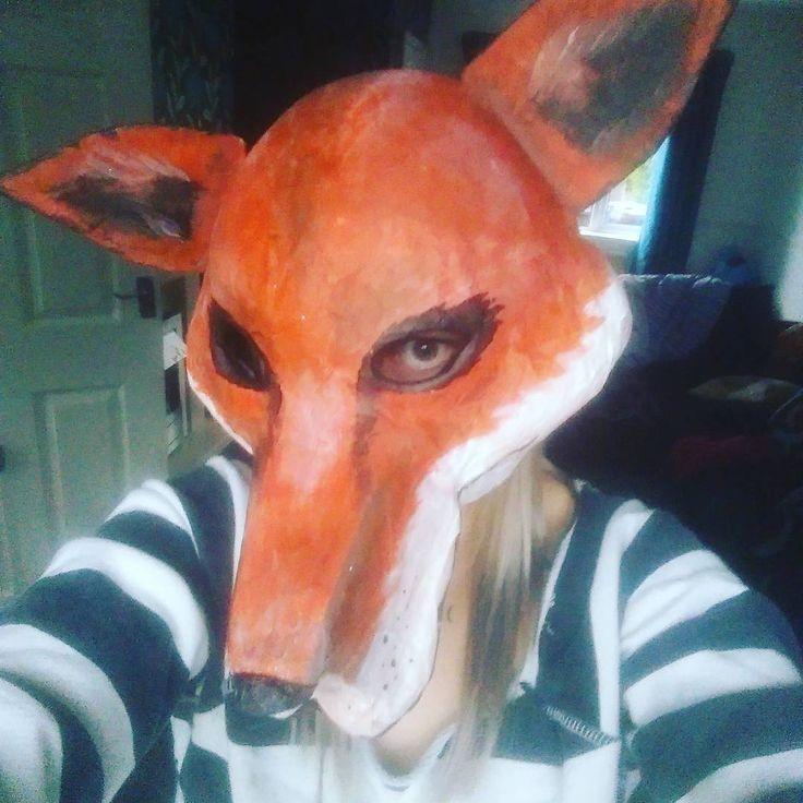 Foxy haloween mask #fun #funny #Fox #foxmask #Halloween #papermashe #mask #me #selfie